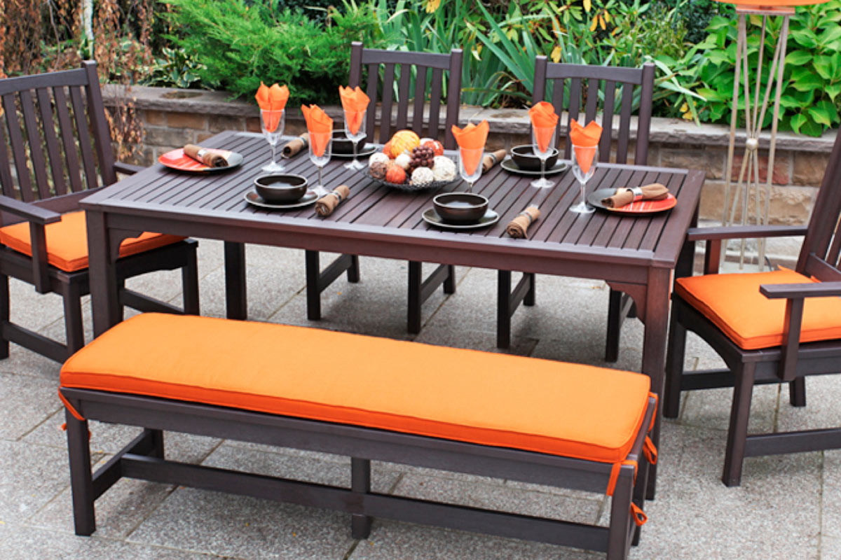 Outdoor Dining Table, Bench and Chairs